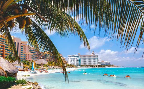 Cancun beach with hotels.