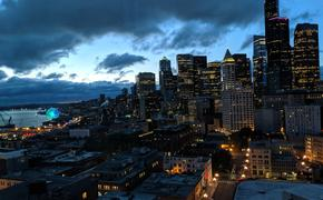Downtown Seattle as seen from hotel room in Embassy Suites by Hilton in Downtown Seattle at Pioneer Square