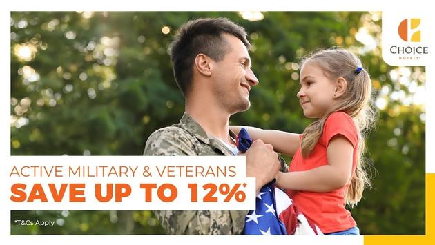 Active military and veterans can save up to 12 percent when booking at participating Choice-branded hotels.