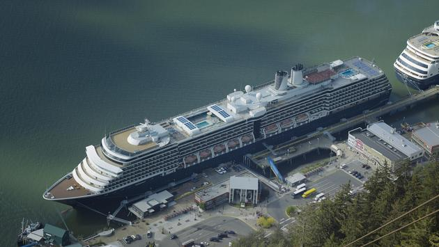 cruise ships docked at the port of Juneau in Alaska, USA