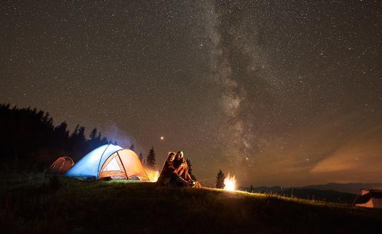 Night camping under the stars