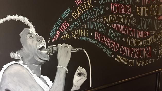 Aretha Franklin mural inside Verb Hotel in Boston