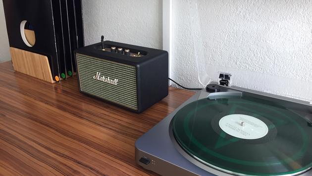 Record player, amp and albums inside Verb Hotel guest room