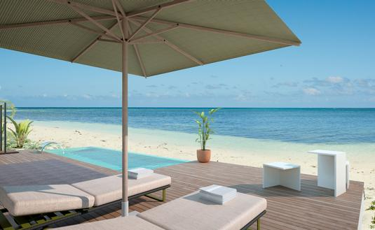 Beach villa terrace at Excellence Oyster Bay