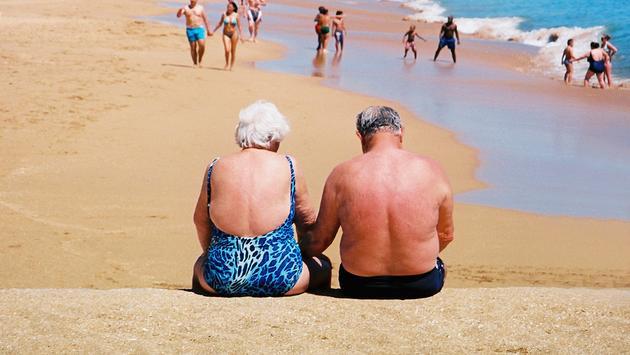 Senior couple on a beach