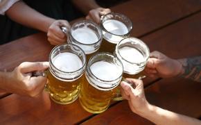 People cheersing beer in a Bavarian beer garden