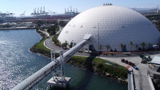 The distinctive geodesic dome at Long Beach's cruise port
