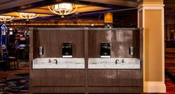 Mock-up of handwashing station on the Bellagio casino floor.