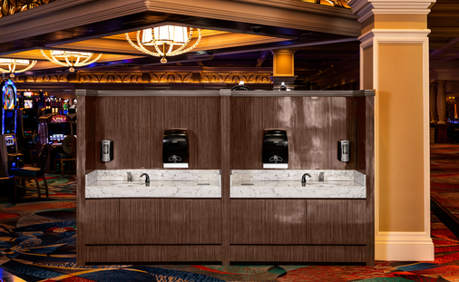 Mock-up of handwashing station on the Bellagio casino floor.