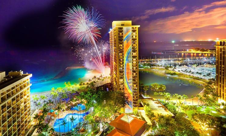 Fireworks at Hilton Hawaiian Village Waikiki Beach Resort
