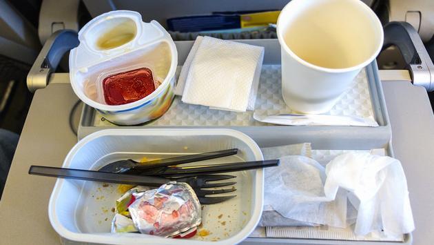 Plastic trash on an airplane