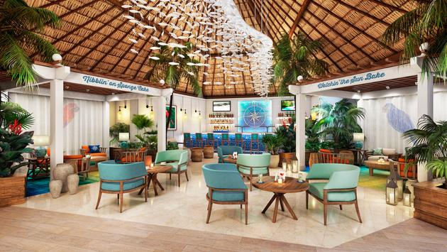 Compass Bar at the new Margaritaville Island Reserve by Karisma Riviera Cancún, Mexico.