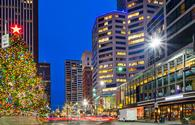 Downtown Cincinnati illuminated by Christmas lights