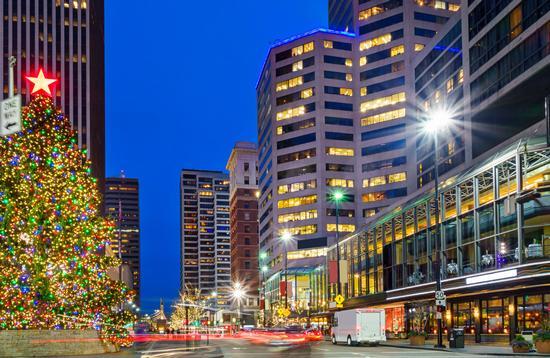 Downtown Cincinnati illuminated by Christmas lights