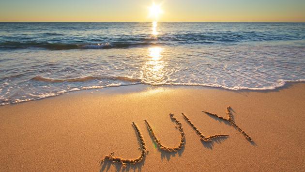 July, beach, ocean