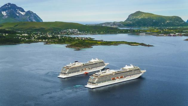 Viking Ocean Cruises' Viking Sky and Viking Sea near Leknes, Norway