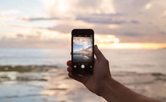 Photo of an ocean scene taken by a smart phone