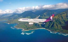 Hawaiian Air Airplane and Ariel view of mountains