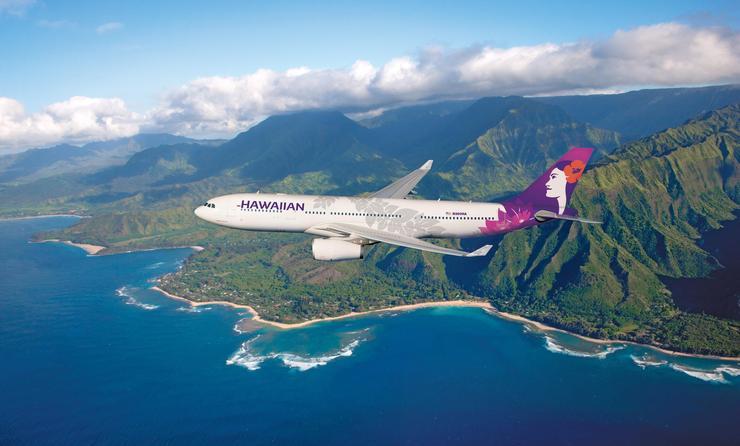 Hawaiian Air Airplane and Ariel view of mountains
