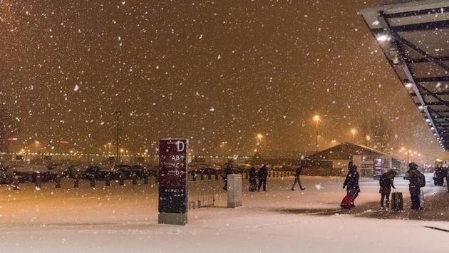 airport, snow, winter