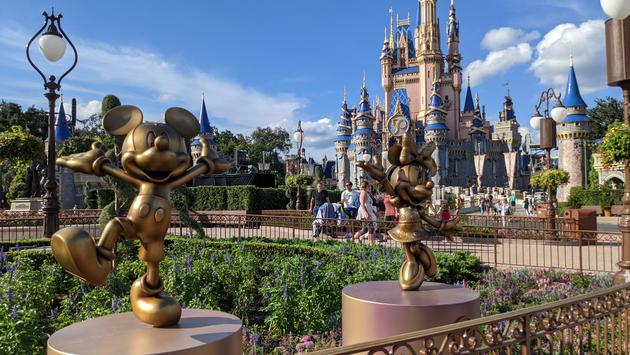 Mickey and Minnie Golden Sculptures at Magic Kingdom