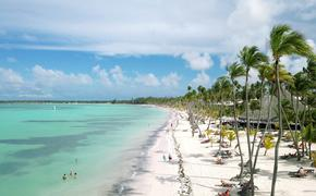 Aerial view of the beach in Punta Cana, Dominican Republic