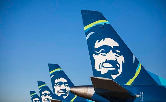 Alaska Airlines tail assembly.