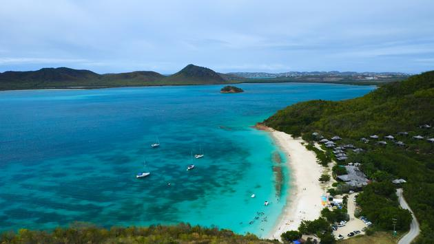 Aerial view of Hermitage bay beach, Antigua