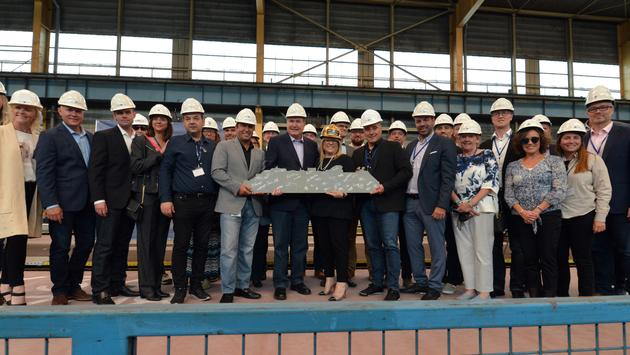 Celebrity Cruises has marked the steel cutting for its new Celebrity Apex. The second in the Edge series of ships will debut in 2020. (Photo courtesy of Celebrity Cruises)