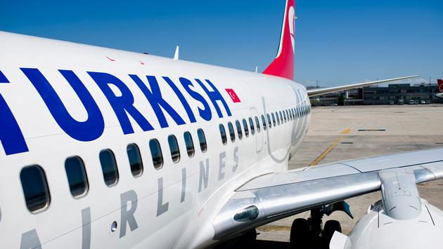 Turkish Airlines plane on the tarmac
