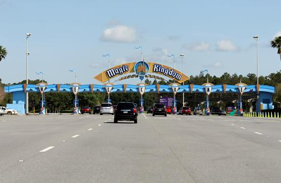 Vehicles entering Walt Disney World Resort's Magic Kingdom theme park