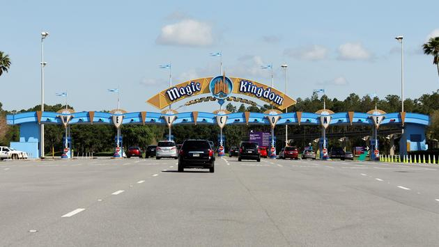Vehicles entering Walt Disney World Resort's Magic Kingdom theme park