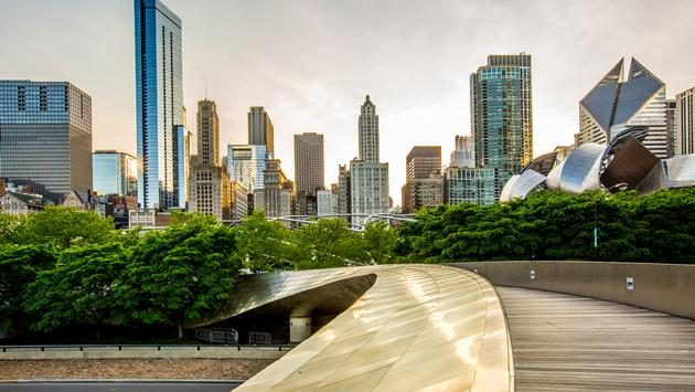 View of downtown Chicago, Illinois from Lakefront Park.