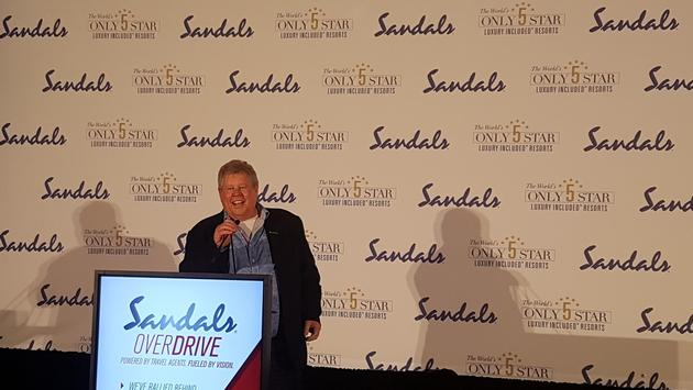 Gordon 'Butch' Stewart, Sandals' founder, addressing the audience at the Toronto leg of SANDALS OVERDRIVE.