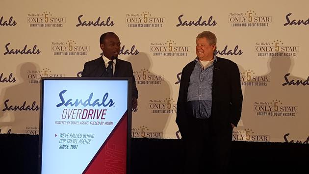 The Hon. Dominic Fedee, Minister of Tourism for Saint Lucia, and himself a former Sandals employee, with Sandals founder Gordon