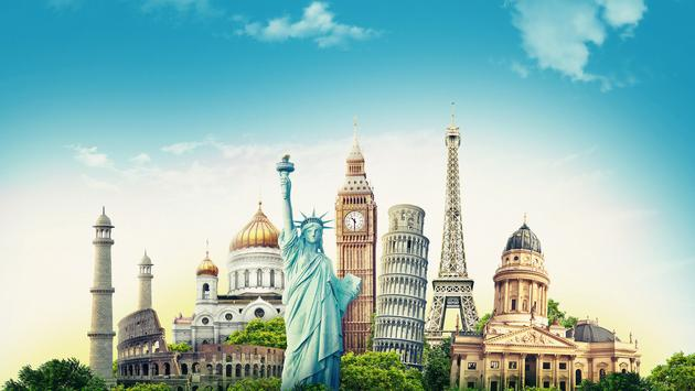 Travel illustration world's famous landmarks and tourist destinations