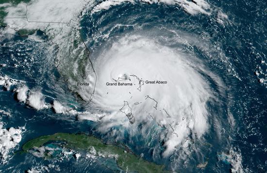 Hurricane Dorian over the Bahamas
