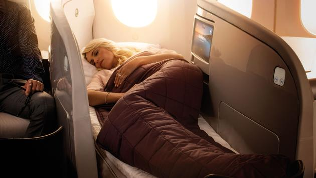 Lie-flat bed in Air New Zealand's business class cabin