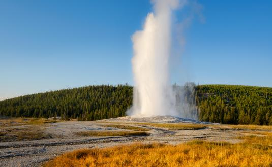 Old Faithful geyser at Wyoming's Yellowstone National Park