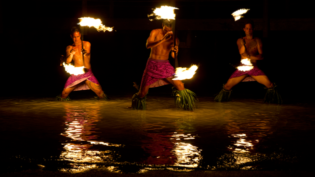 Male performers in Tahiti.