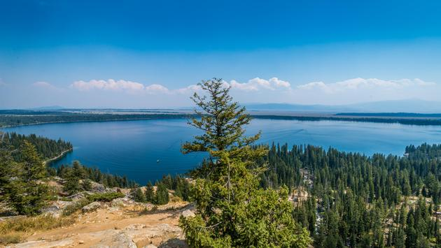 View of Jenny Lake from Inspiration Point in Grand Teton National Park, Wyoming