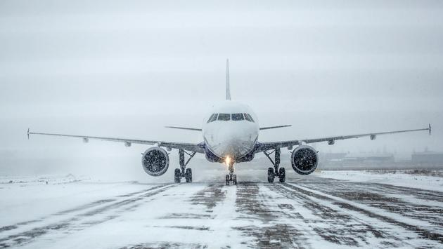 plane, snow, weather