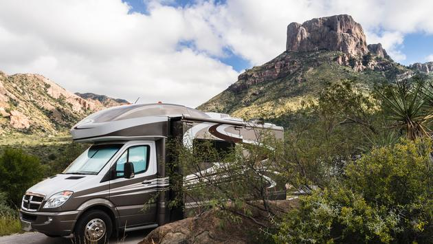 An RV in Big Bend National Park, Texas, camping