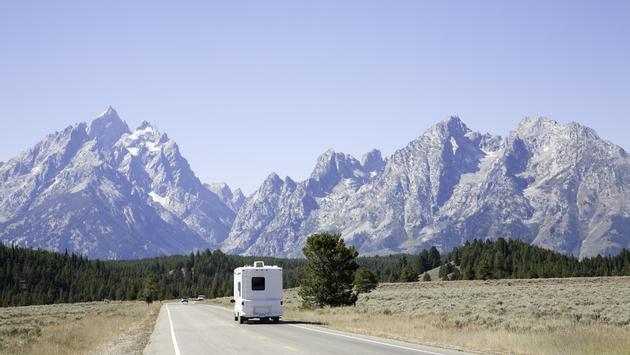 An RV touring Grand Teton National Park, camping