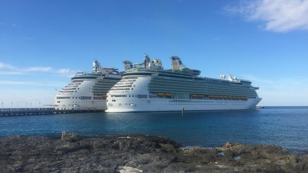 Royal Caribbean's Navigator of the Seas (left) and Mariner of the Seas (right) docked at Perfect Day at CocoCay