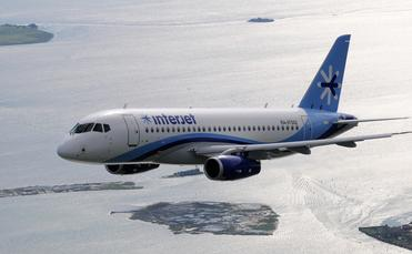 An Interjet airliner soaring through the air