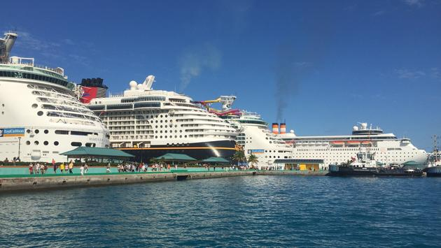 Cruise ships docked in Nassau, Bahamas