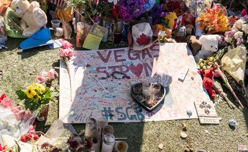 A memorial remembering the victims of the 2017 Las Vegas shooting