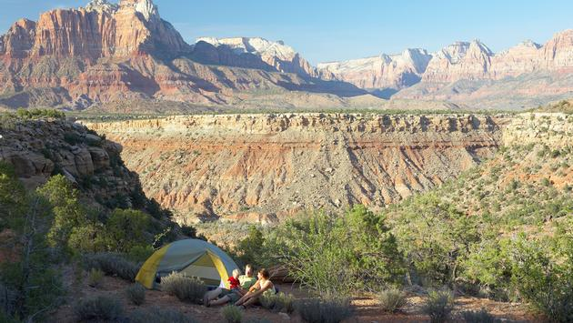A family camping in Zion National Park