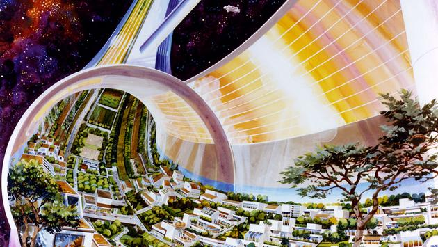 Rick Guidice, Toroidal Colonies, cutaway view exposing the interior,1976, on view at SFMOMA.